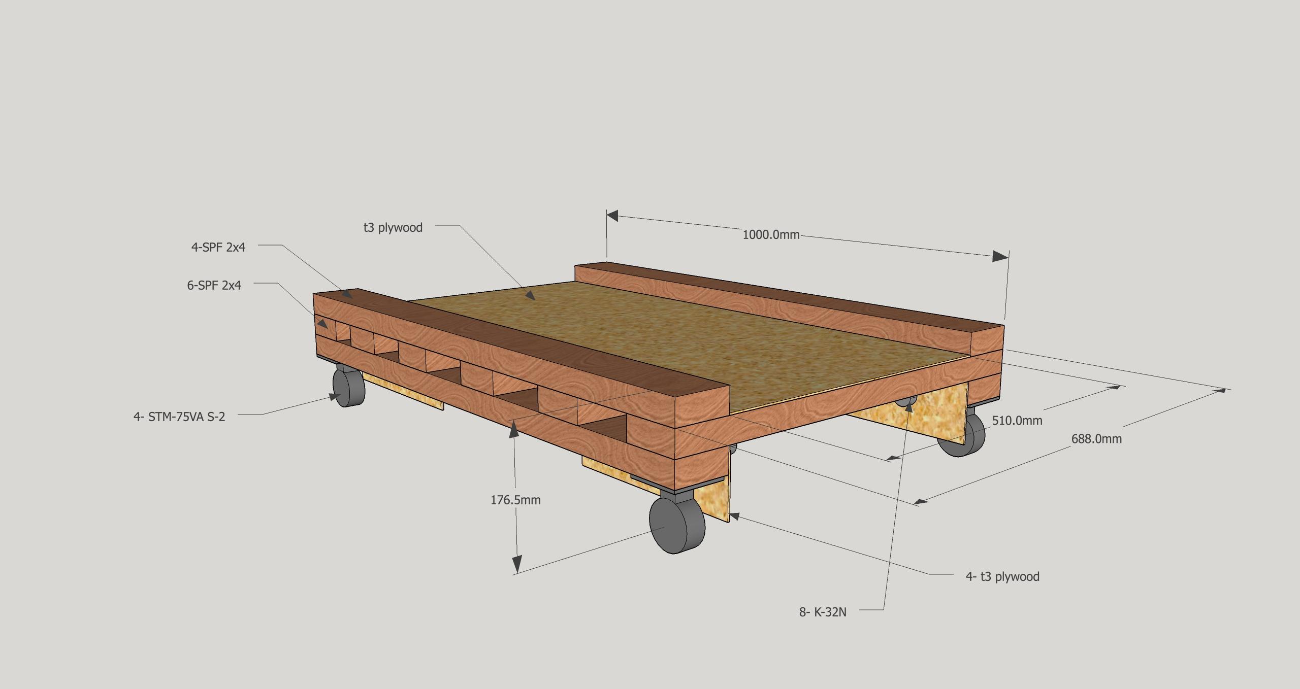 SketchUpモデル 木製パレット台車
